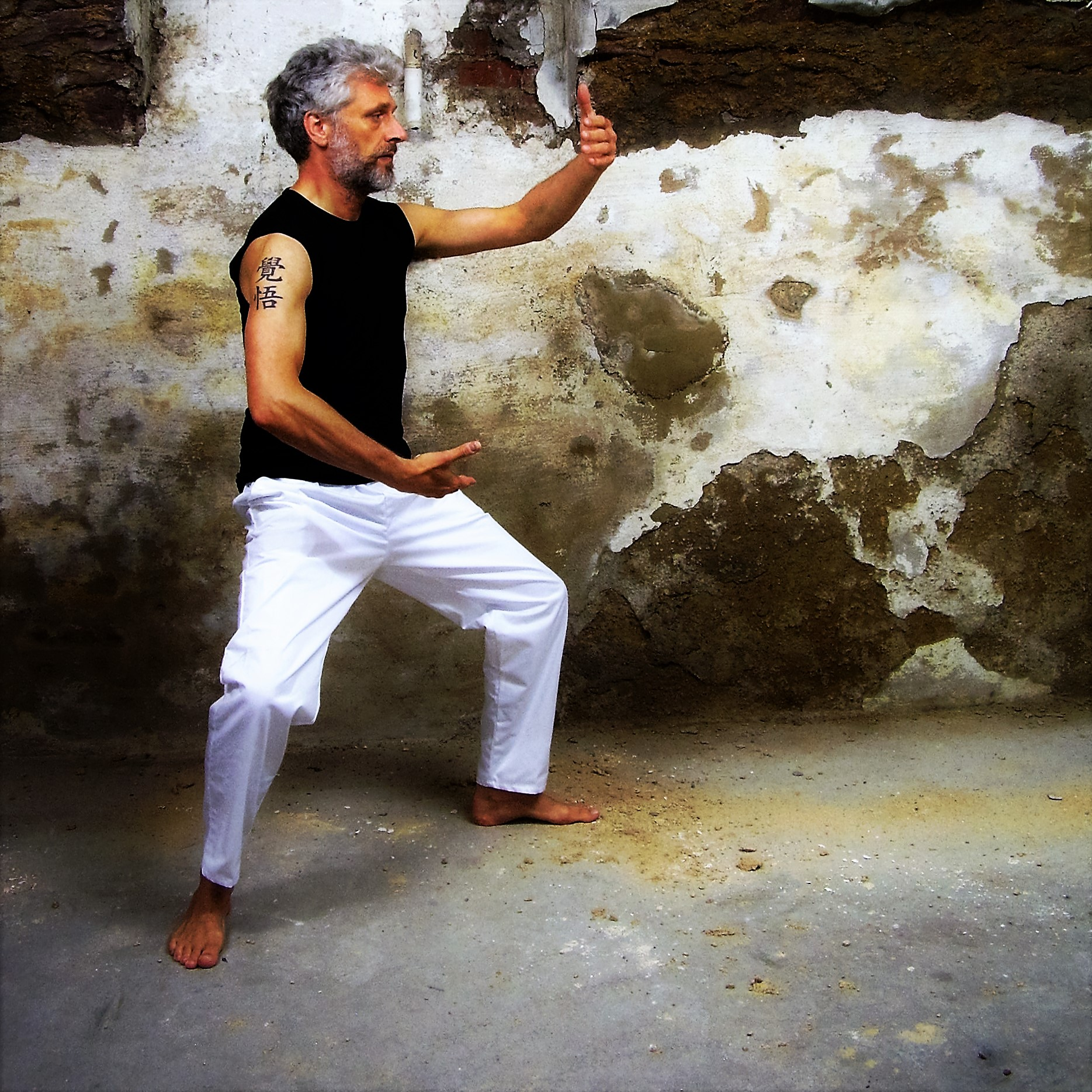 A man perfoming tai chi exercise