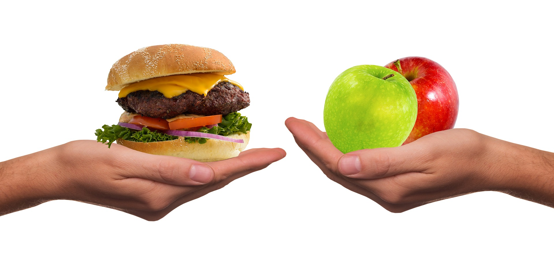 A burger and an apple, are you hungry