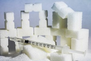 Insulin and sugar, injection