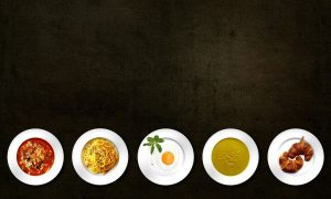 Different plates with food, timing of food