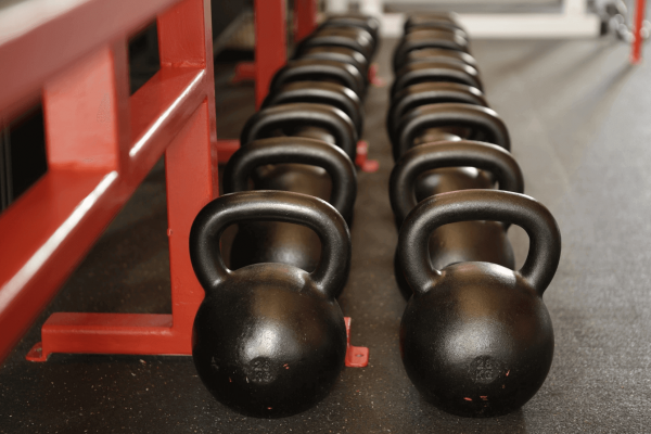 Kettlebells on the floor at the gym